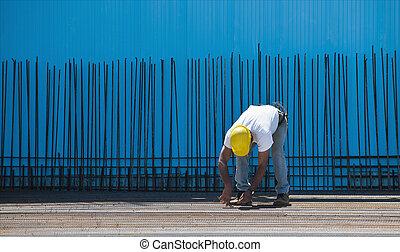 acero, barras, alambres, trabajador, encuadernación, ...