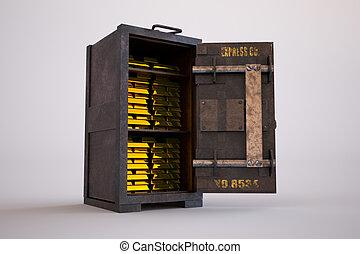 acero, barras, viejo, oro, seguro, oxidado, oro y plata en ...