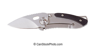 acero, blanco, aislado, plano de fondo, penknife.