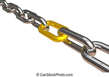 acero, cadena, con, dorado, enlace