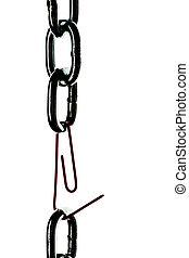 acero, cadena, es, tenido, juntos, por, un, paperclip