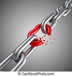 acero, cadena, rotura, con, único, rojo, enlace