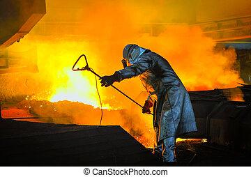 acero, caliente, trabajador