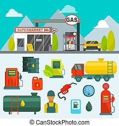 acero, carga, aceite, tubería, potencia, servicio, almacenamiento, vector, petróleo, sistema, gas, fábrica, terminal, bomba, estación, químico, combustible, transporte, illustration., tecnología, tanque