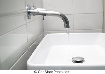 acero, chromed, grifo, flujo, agua