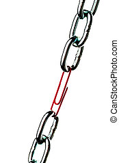 acero, clip, cadena, juntos, tenido, papel