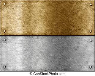 acero, conjunto, oro, (brass), metal, incluso, placas, (copper), o, bronce
