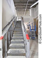 acero, construcción, comercial, escalera, espacio