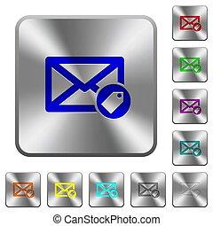 acero, cuadrado, redondeado, botones, correo, tagging