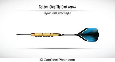 acero, dorado, punta, dardo, realista, flecha