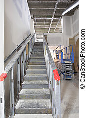 acero, escalera, construcción, en, comercial, espacio