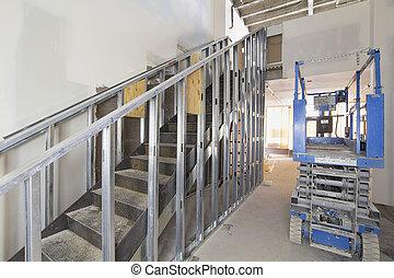 acero, escalera, construcción