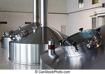 acero, fermentación, tinas, en, cervecero, fábrica