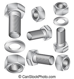 acero, illustration., inoxidable, nut., vector, perno