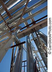 Acero,  industrial, tuberías, zona