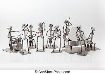 acero, inoxidable, banda jazz