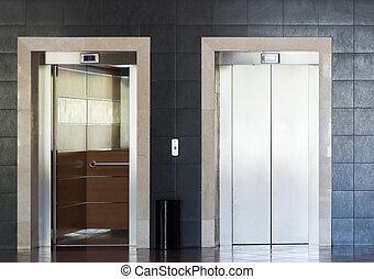 acero, inoxidable, elevador, cabaña