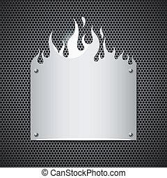 acero inoxidable, fuego, llamas, vector
