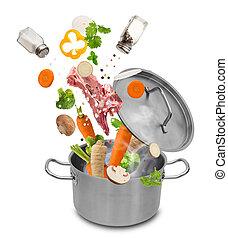 acero, inoxidable, vegetales, fresco, caer, olla