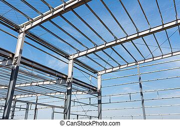 acero, marco, edificio, primer plano