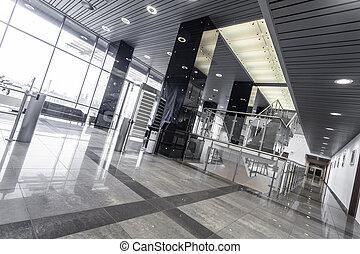 acero, moderno, interior de la oficina