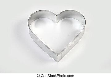 acero, molde, en forma de corazón