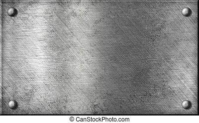 acero, o, aluminio, o, aluminio, plato metal, con, remaches