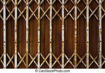 acero, oxidado, plegable, puerta, textura