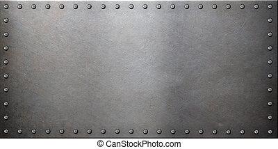 acero, placa, metal, remaches