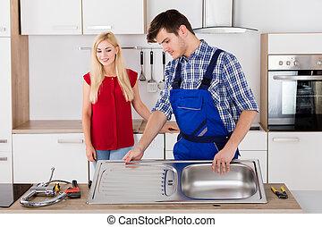 acero, plomero, fijación, fregadero, inoxidable, macho, cocina
