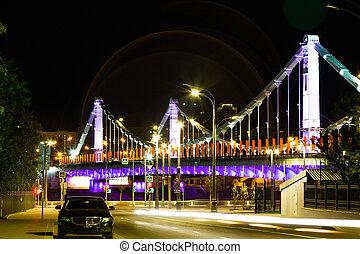 acero, puente, moscú, noche, russia., suspensión