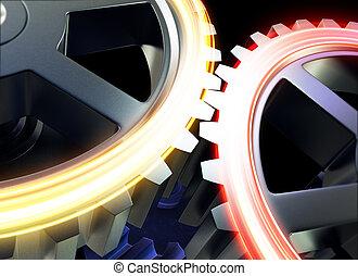 acero, ruedas, engranaje