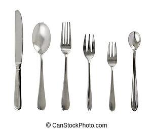acero, tabla, conjunto, metal, cubiertos
