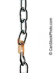 acero, tenido, juntos, cadena, paperclip