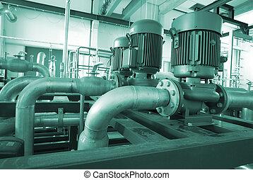acero, tuberías, industrial, zona, escaleras, válvulas