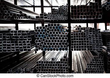 acero, tubos, apilado