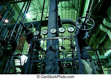 acero, válvulas, industrial, tuberías, zona