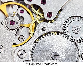 acero, vendimia, aparato de relojería, reloj, plano de fondo