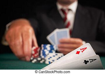 aces, игрок, покер, пара