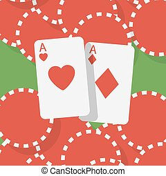 Aces and gambling chips