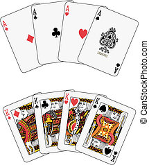 Playing cards: aces and kings poker isolated