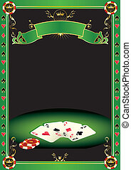 A background with gambling elements (cards and Gambling Chips) on a table. It's ideal to promote a tournament of poker.