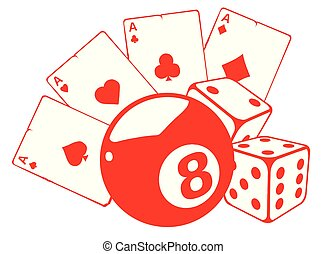 aces playing cards with number eight ball isolated on white background