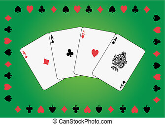 Aces poker in suit of cards frame