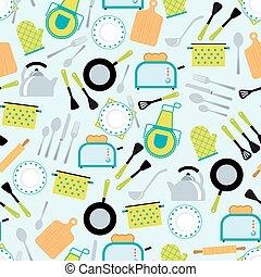 acessórios, seamless, padrão, cozinhar