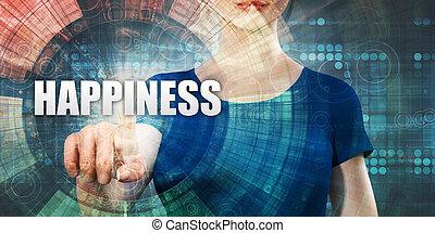 acessando, mulher, felicidade