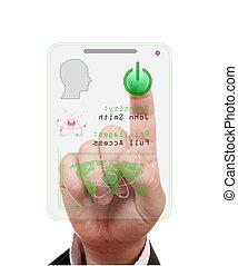 acesso, apertando, dedo, cartão