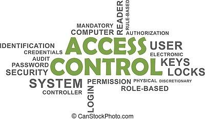acesso, controle, -, nuvem, palavra