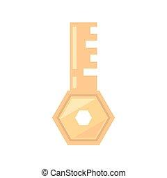 acesso, dourado, segurança, ferramenta, tecla