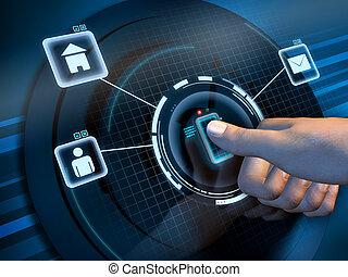 acesso, impressão digital